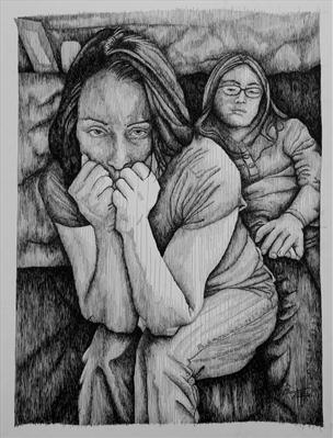 Kirsten and Frang by Frank Papandrea, Drawing, Pen on Paper