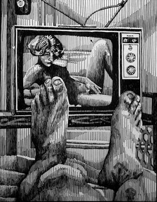 TV by Frank Papandrea, Drawing, Pen on Paper