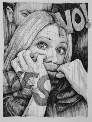 Yes No by Frank Papandrea, Drawing, Pen on Paper